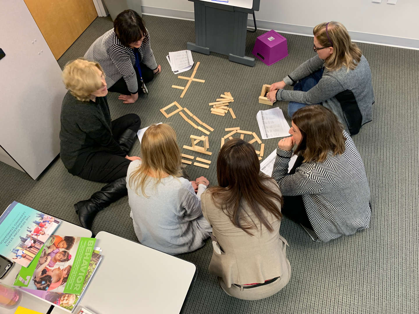 Group work with wooden sticks