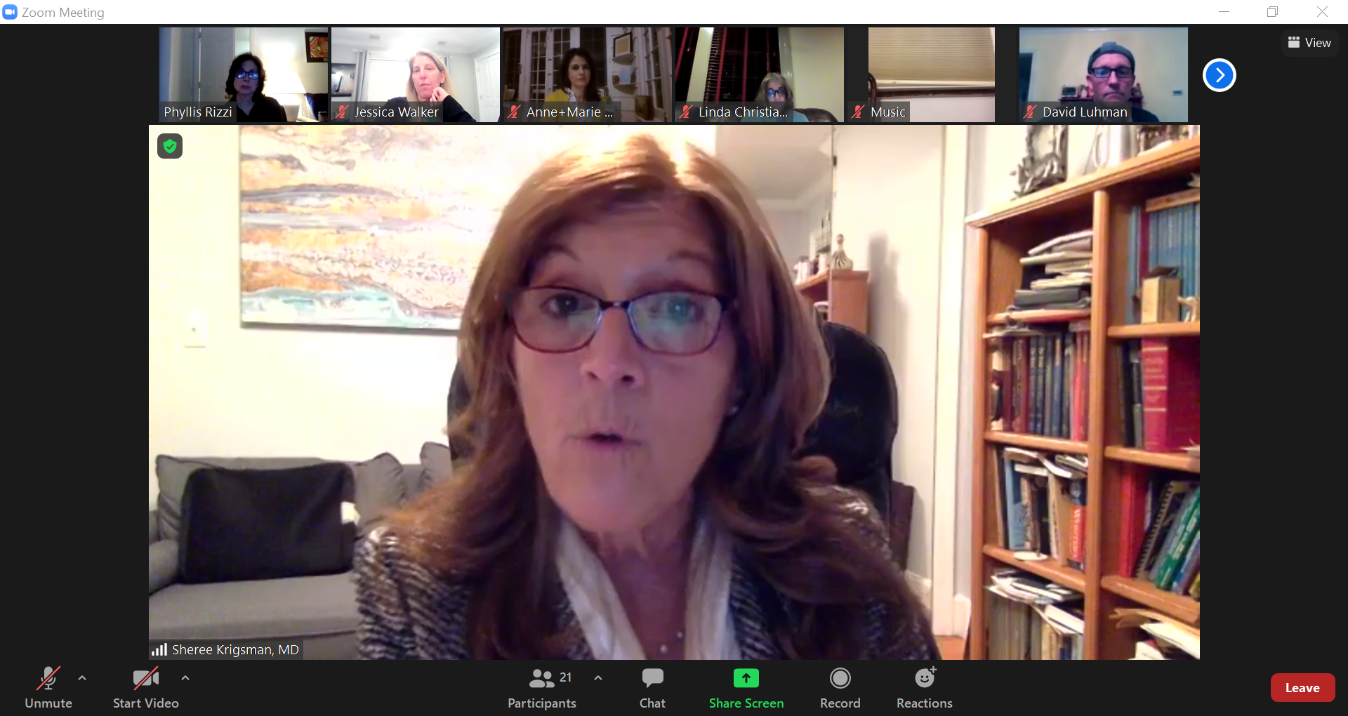 Dr. Sheree Krigsman speaks on childhood anxiety during a virtual workshop.