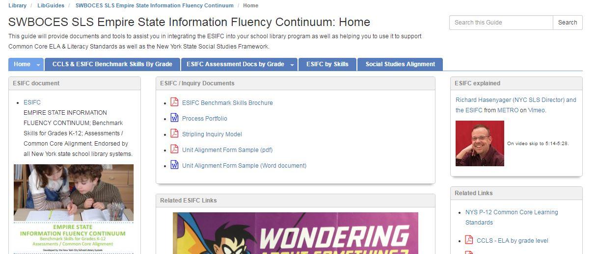 Empire State Information Fluency Continuum Libguide screenshot