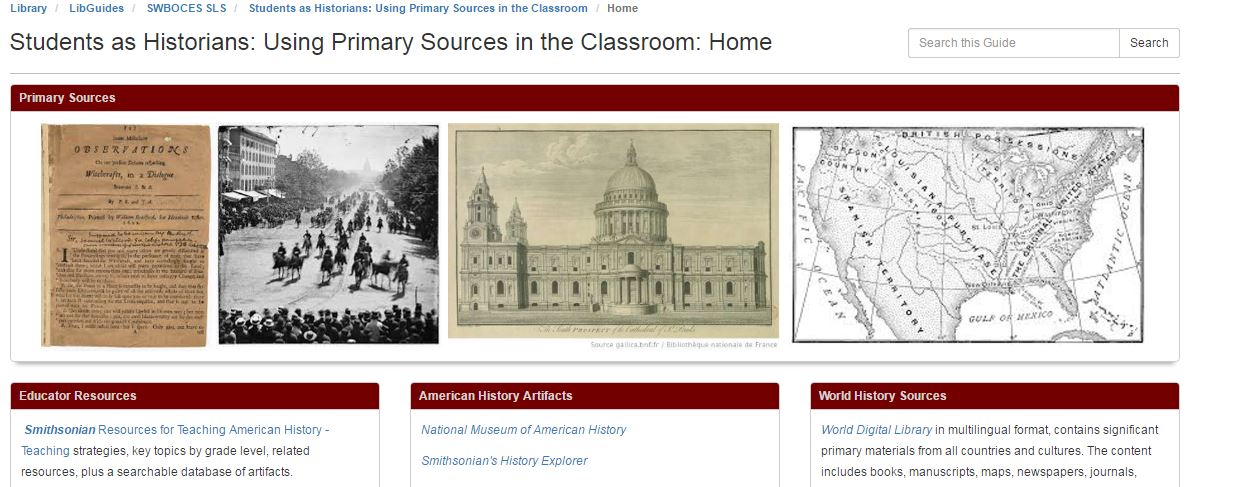 Students as Historians: Using Primary Sources in the Classroom Libguide screenshot