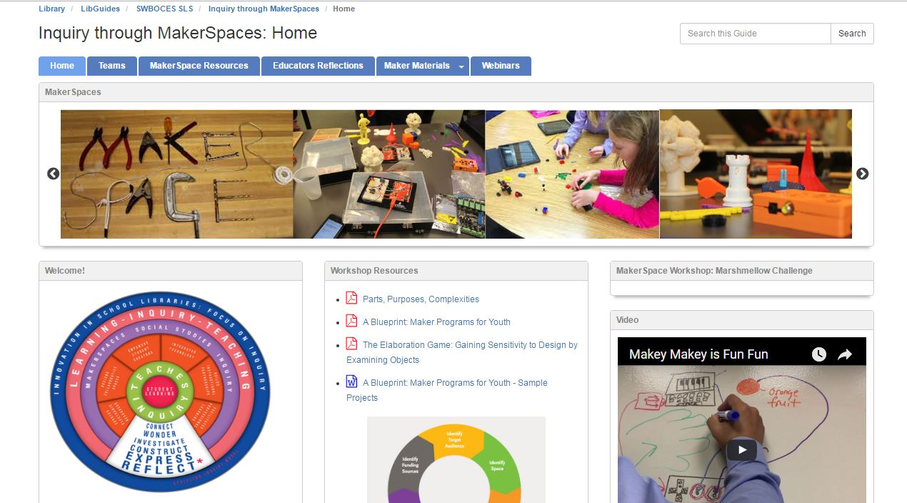 Inquiry Through Makerspaces Libguide screen shot