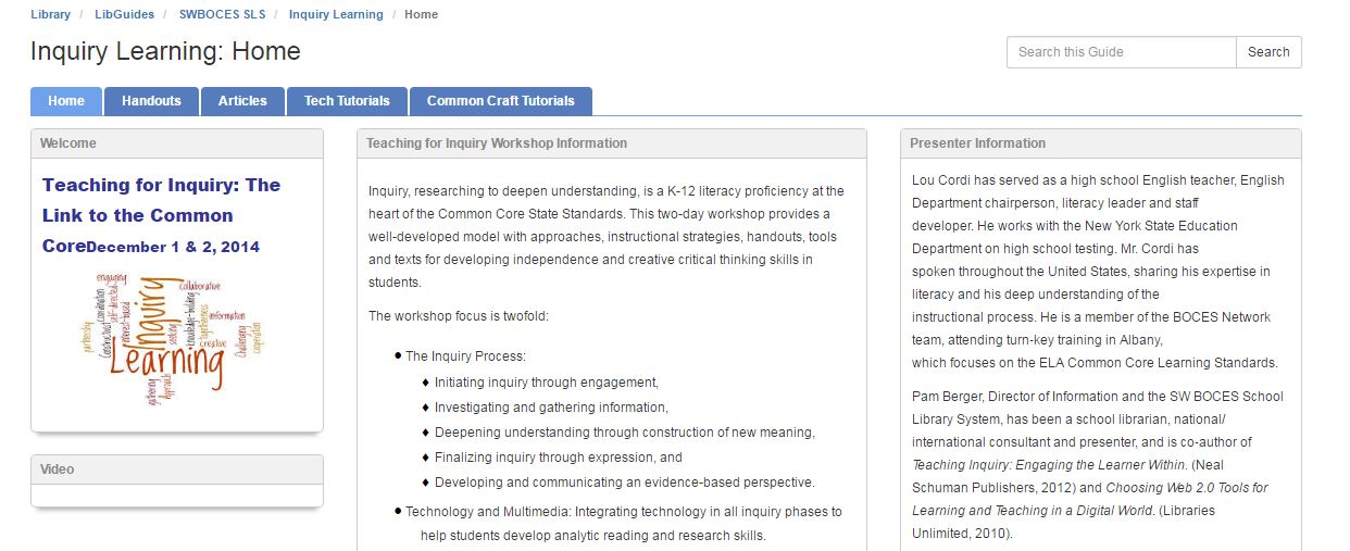 Inquiry Learning Libguide screenshot