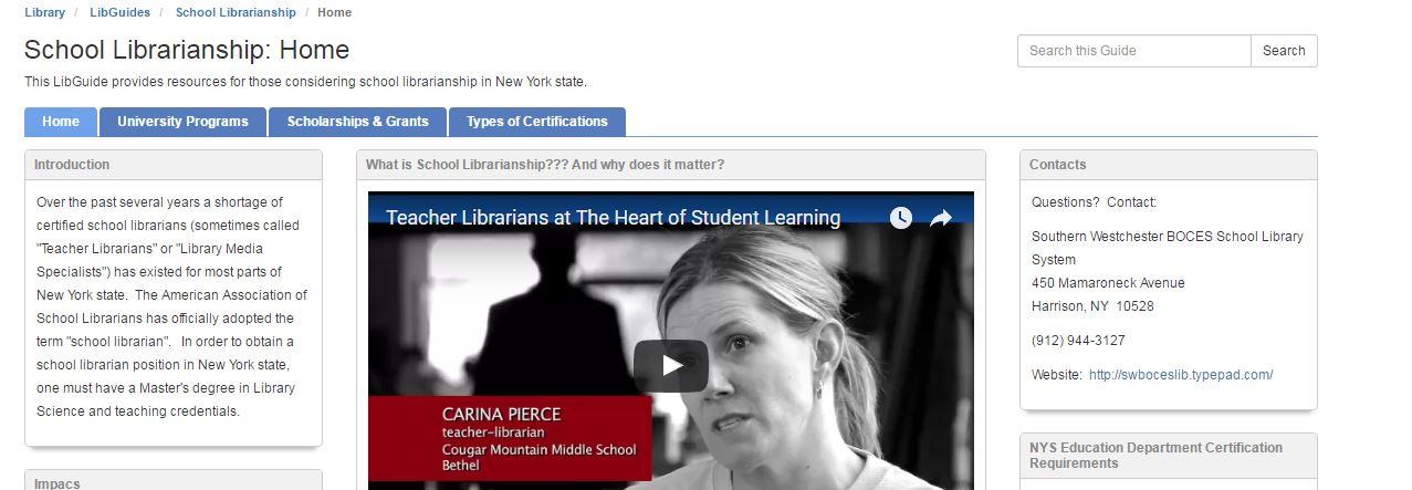 School Librarianship - Certification Information screen shot