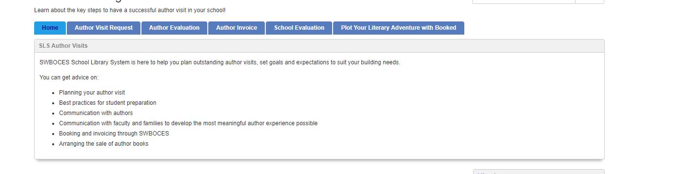 screenshot of Author Visit Program libguides page
