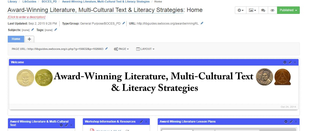 Award-Winning Literature, Multi-Cultural Text & Literacy Strategies libguides page screen shot