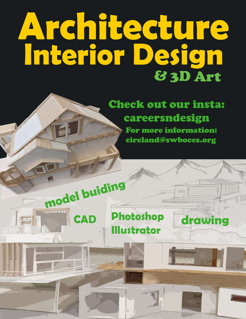 3D Art Flyer with model building picture