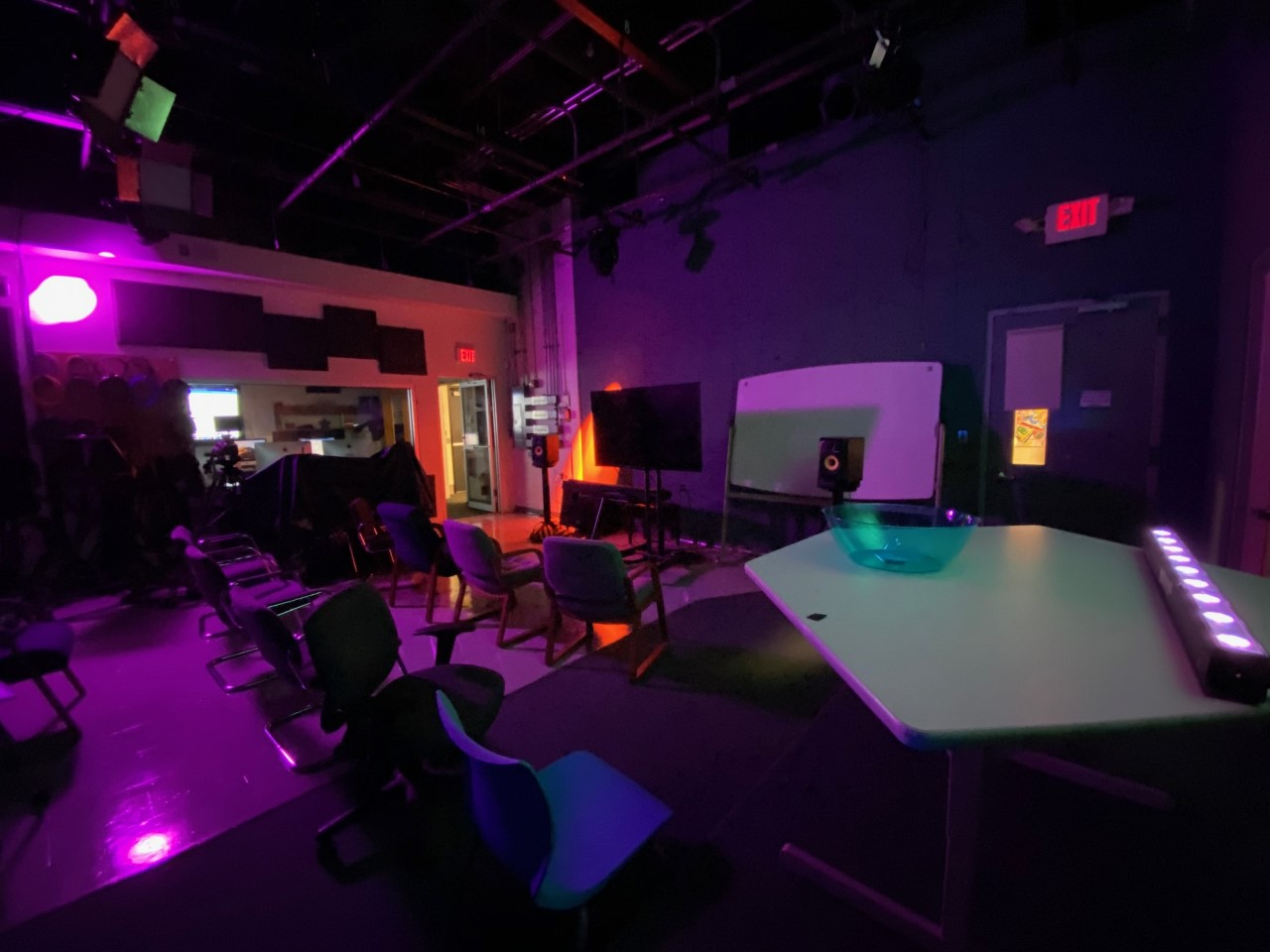 Colorful lighting set up in a classroom