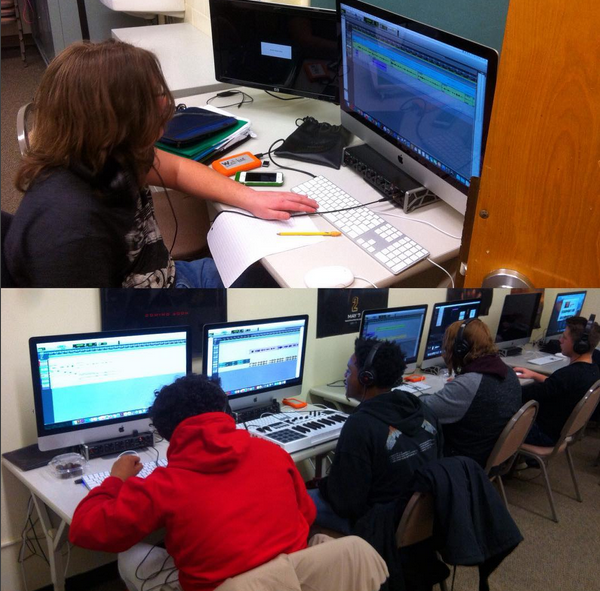 students in the classroom applying sound editing skills