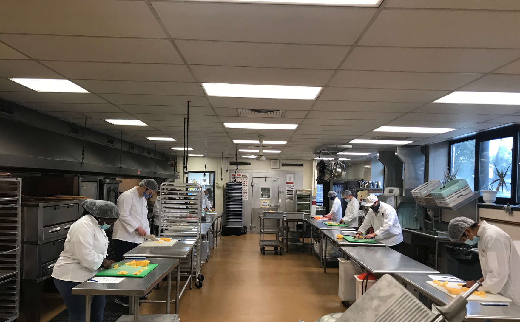 Culinary students at their workstations.