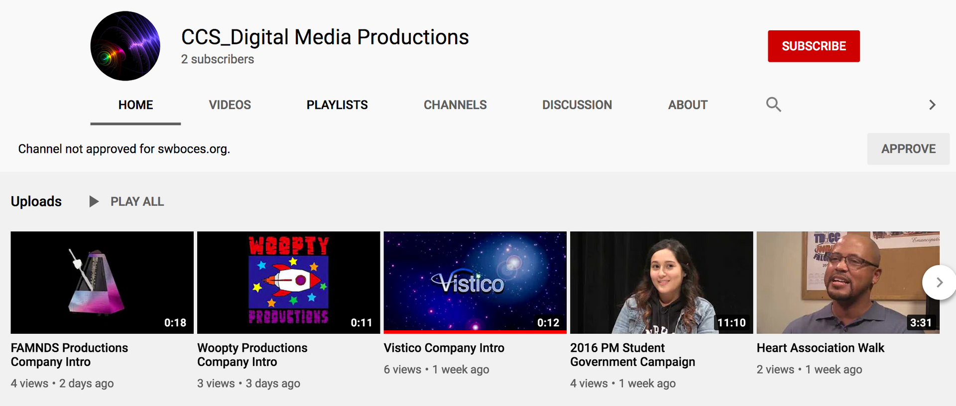 Screenshot of YouTube channel front page