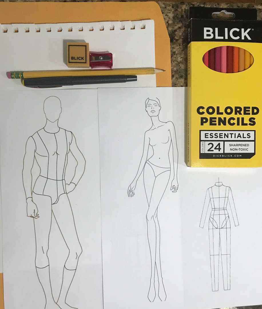 Outline of figures used to desgin clothing.
