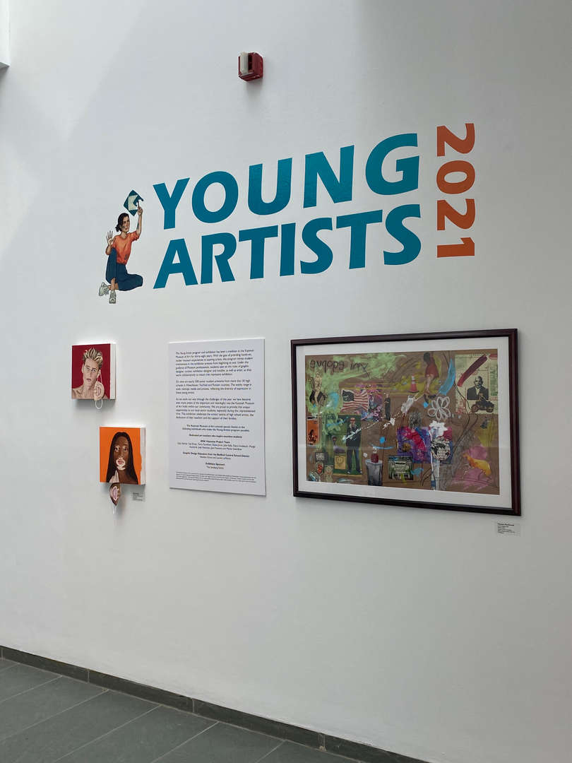 Welcoming wall announcing Young Artists art exhibit for 2021