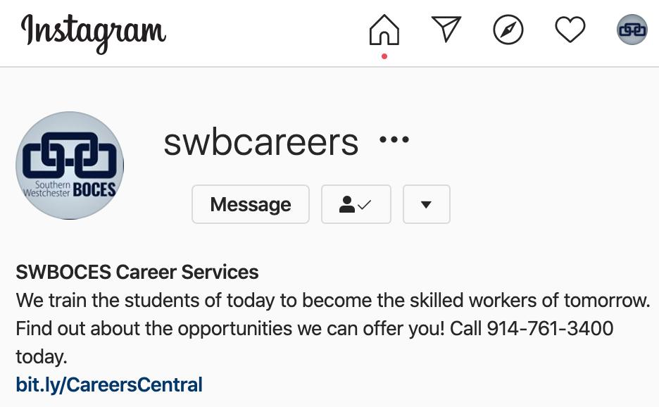 screenshot of @SWBCareers Instagram page