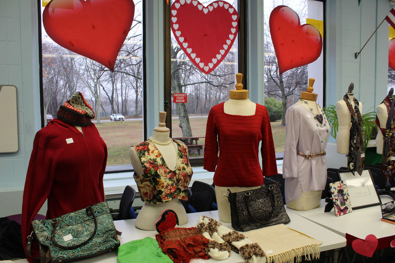 Mannequins dressed in red for Valentine's Day