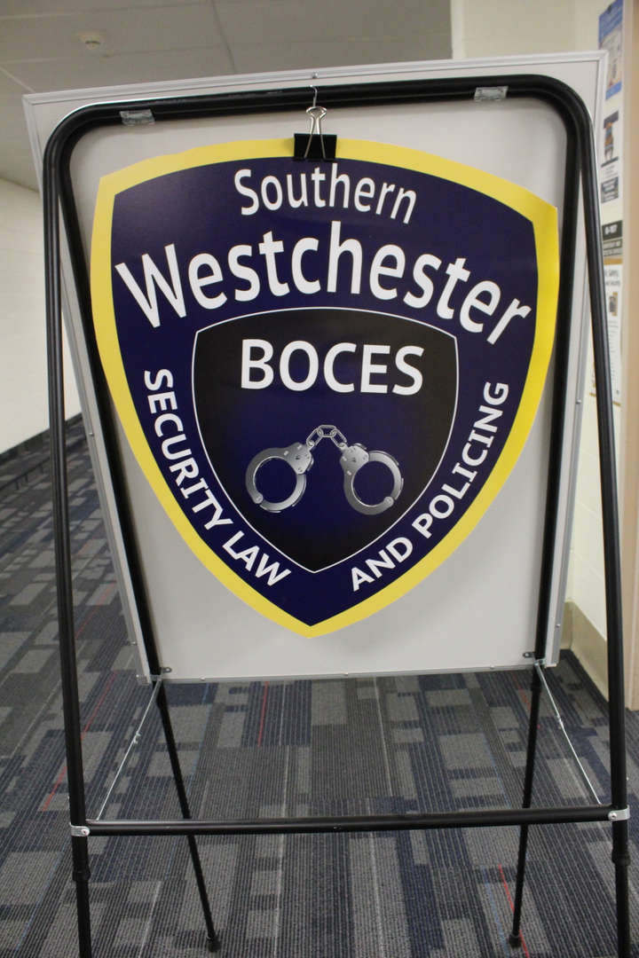 Sign for hte SW BOCES Security, law enforcement and policing class