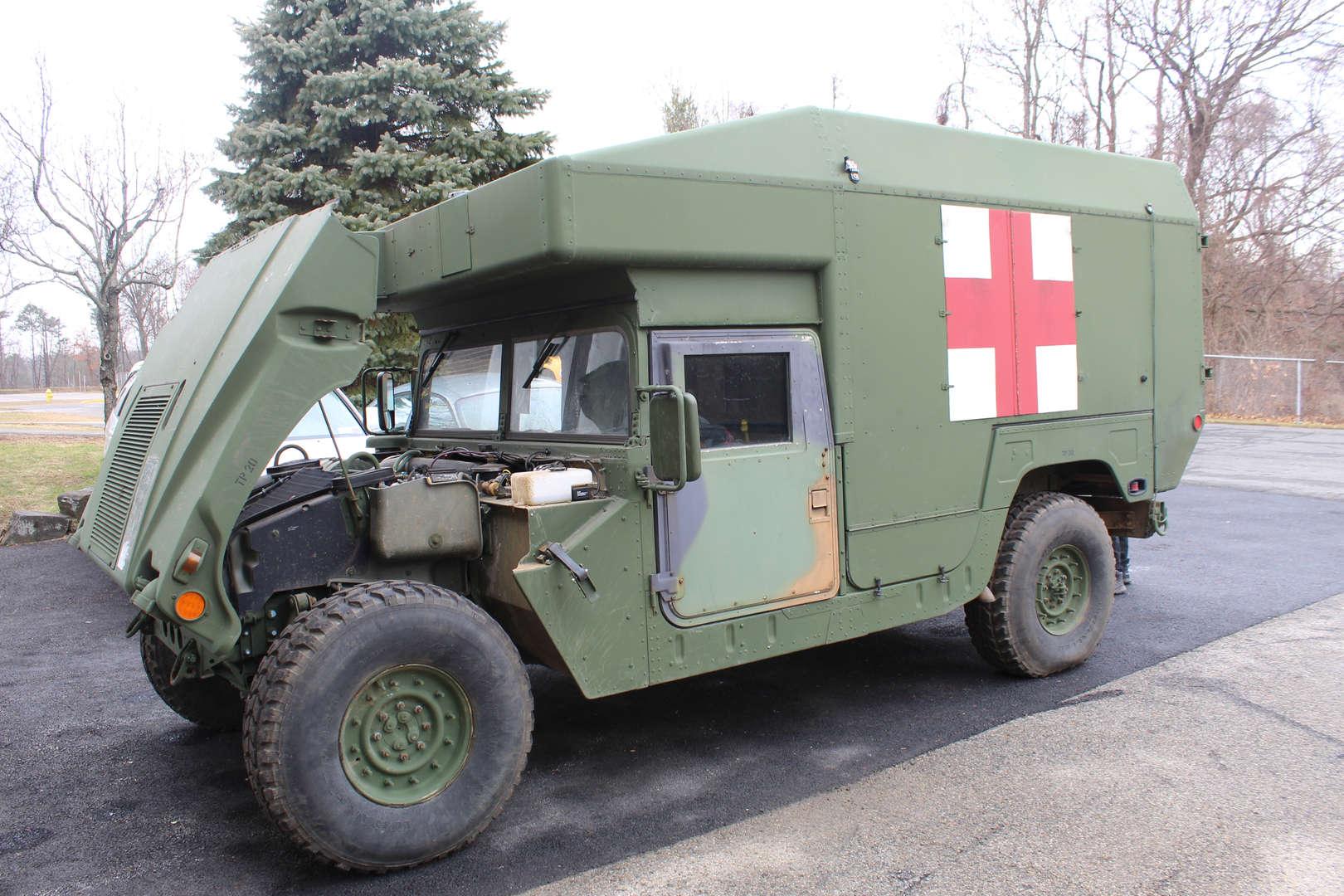 Humvee ambulance with hood up