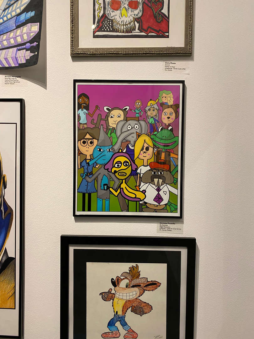 Colorful cartoon-like image in art gallery