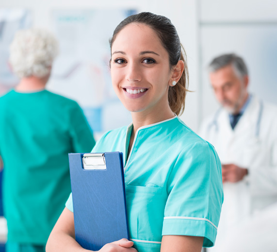 healthcare worker holding clipboard