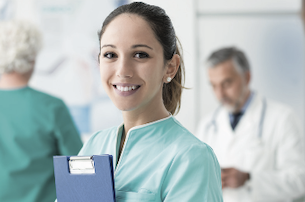 healthcare worker with clipboard