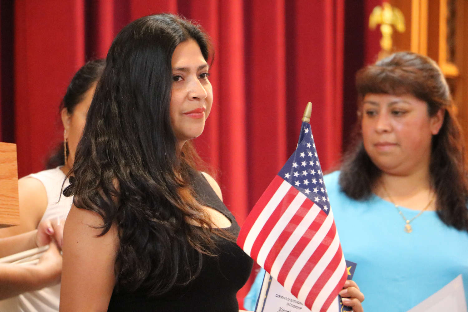 student at citizenship ceremony