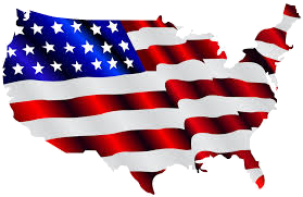 United States map in American flag colors