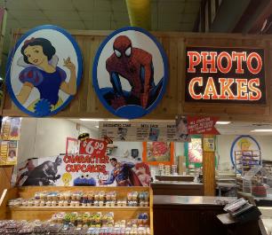 Cake shelf in Stew Leonard's store