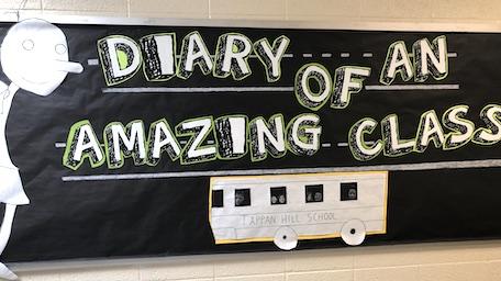 classroom bulletin board reading Diary of an Amazing Class