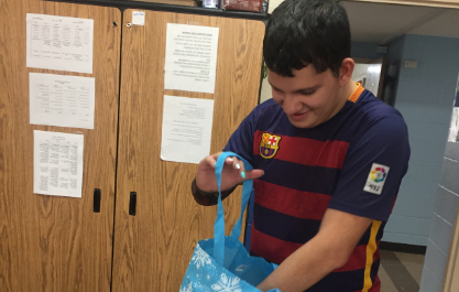 Students successfully filling the bags