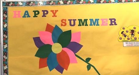 """""""Happy Summer"""" classroom bulletin board"""