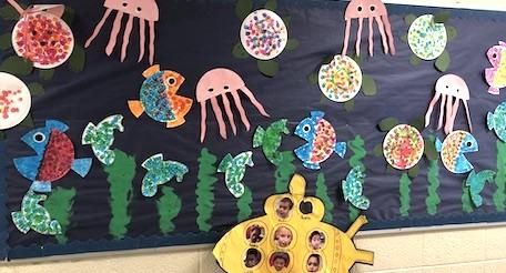 ocean life-themed classroom bulletin board