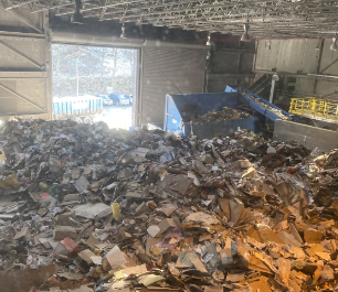 Recycled materials at the Recovery Facility Center