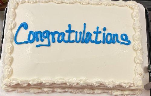 The congratulations cake.