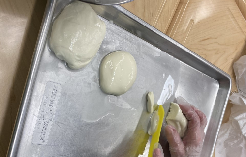 Several balls of mozzarella