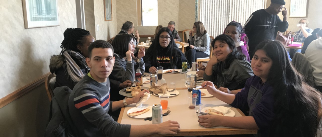 Students and staff eating at the restaurant