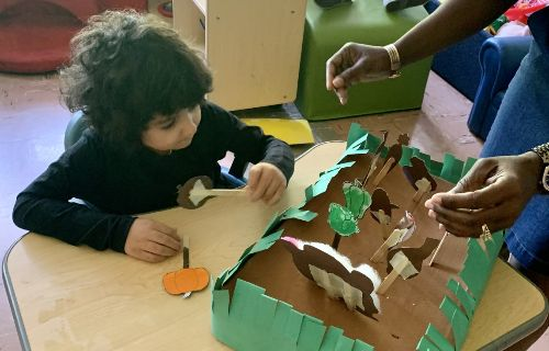 Making a garden from paper.