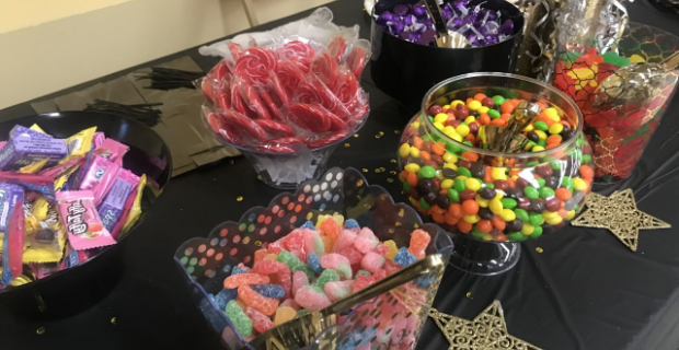 candy table and treats