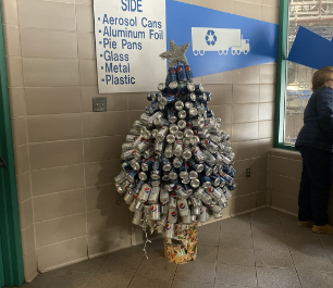 Recycled soda can materials made into a tree at the Recovery Facility Center