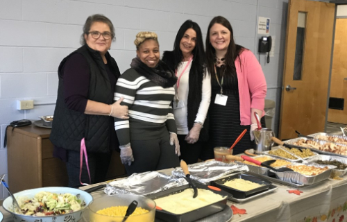 Staff at the Thanksgiving buffet feast