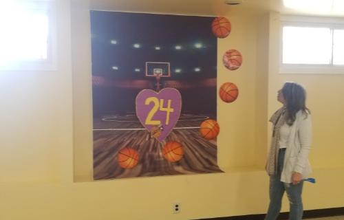Banner honoring number 24 Kobe Bryant