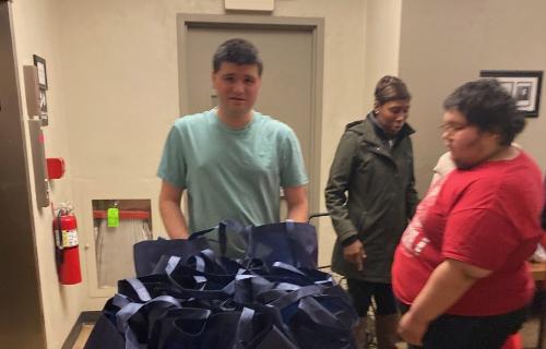 Students bringing donations