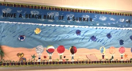 beach ball-themed classroom bulletin board