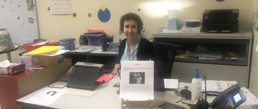 Staff at her desk