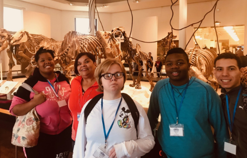 Students and staff at the  Museum of Natural History