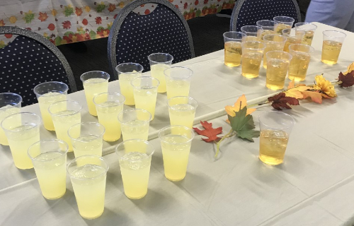 Beverage table at feast