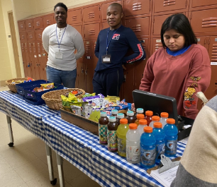 Snacks on the table and students working the store