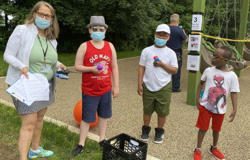 Group photo near egg race.