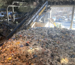 Recycled materials in piles at the Recovery Facility Center