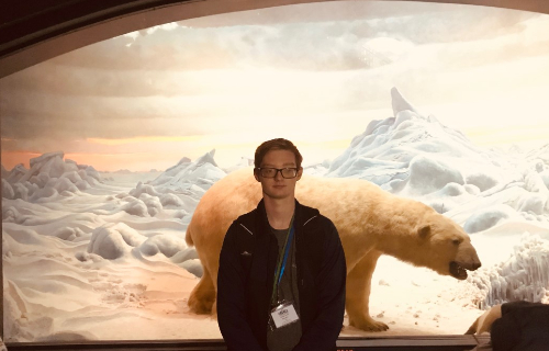 Student in front of the  Polar Bear exhibit
