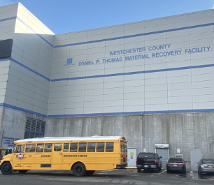 School Bus in front of the Recovery Facility Center