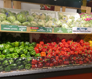 Vegtable shelf in Stew Leonard's store